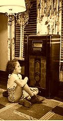young girl listening to radio